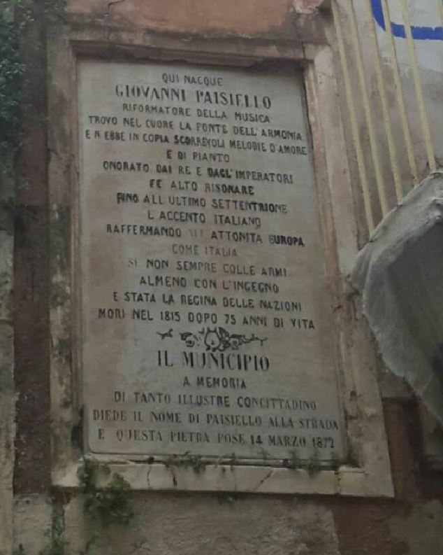 Targa Taranto: abbandono casa natale di Giovanni Paisiello