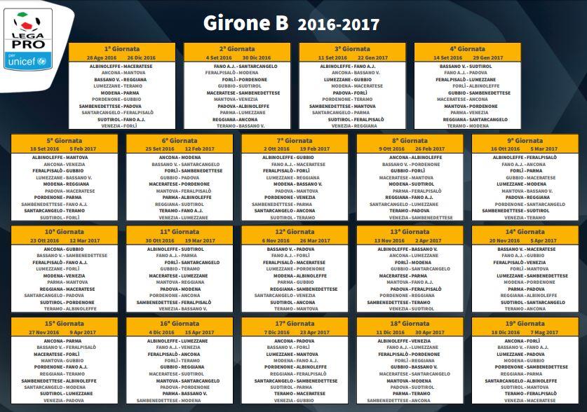 calendari completi lega pro 2017