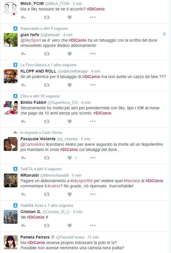 Alcuni dei Tweet su Di Canio