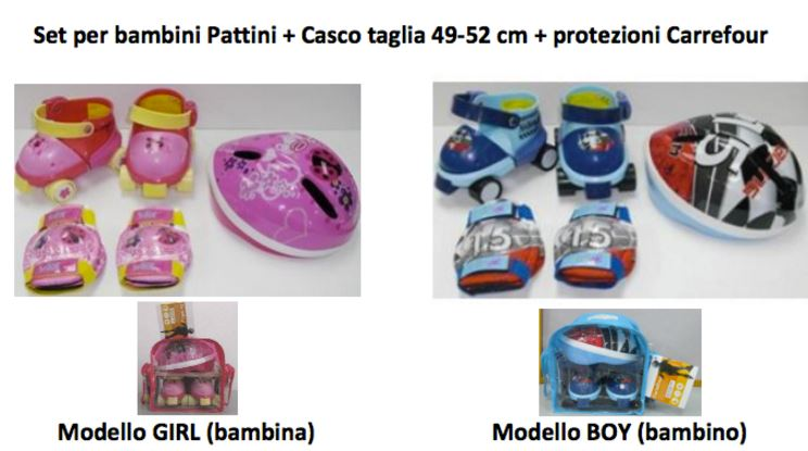 carrefour richiama set pattini con casco