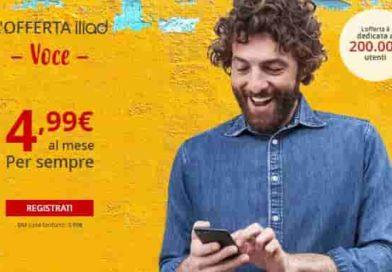 ILIAD VOCE minuti e sms illimitati | L'offerta a 4,99€ al mese con 40MB di internet in 4G/4G+