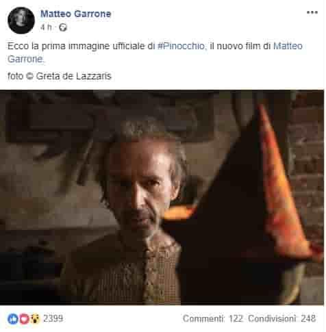 """Roberto Benigni nei panni di Geppetto. Dal film """"Pinocchio"""" di Matteo Garrone"""